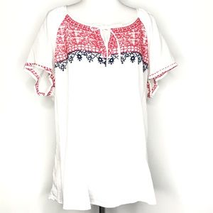 Old Navy Red White Blue Embroider Boho Top A210882